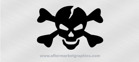 Cracked Skull and Crossbones Decal