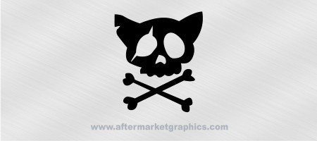 Kitty Skull and Crossbones Decal