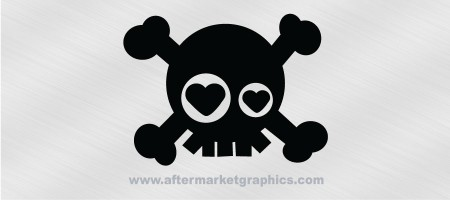 Skull and Crossbones Hearts Decal