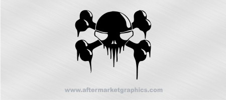 Skull and Crossbones Dripping Decal