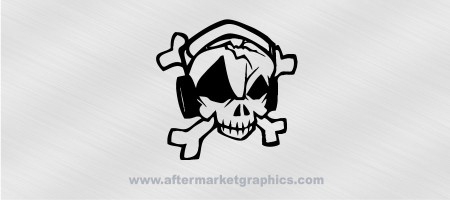 Skull and Headphones Decal