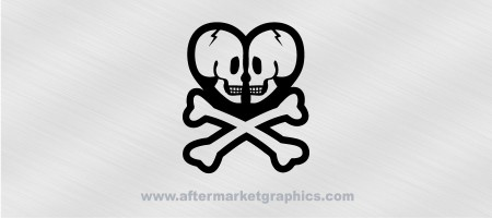 Skull Heart Crossbones Decal