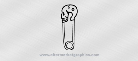 Skull Safety Pin Decal